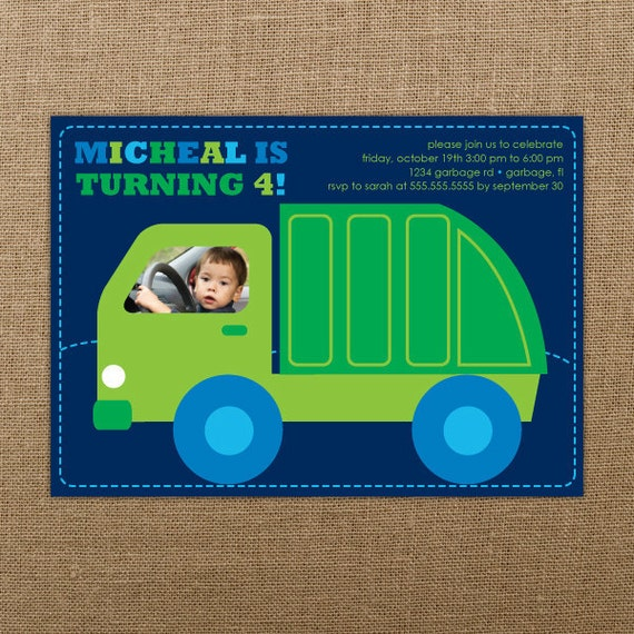 Garbage truck birthday invitation printable boy birthday il570xn filmwisefo Image collections
