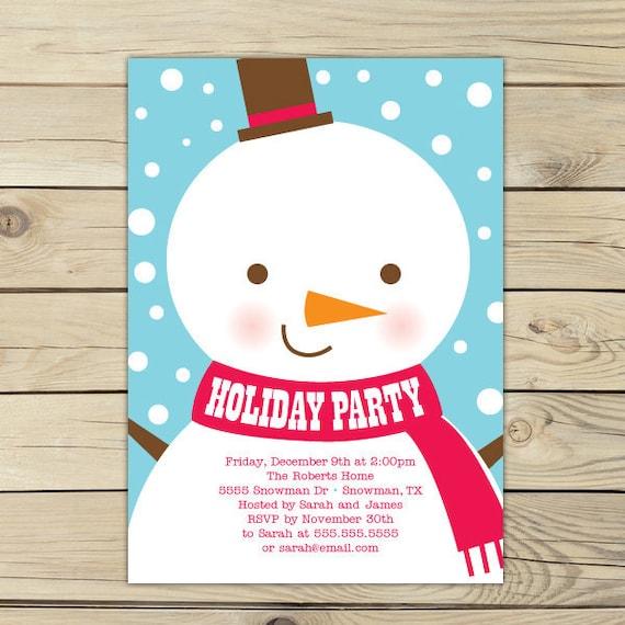 Winter Birthday Party Invitation Christmas Invitation Snowman