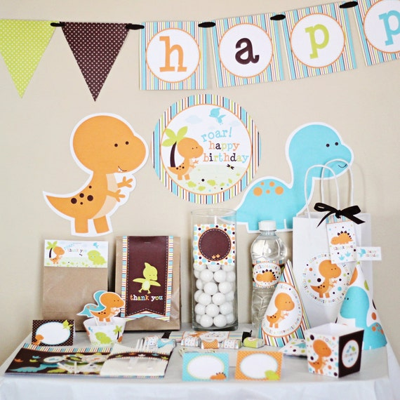 Dinosaurs Birthday Printable DIY Party Kit By By