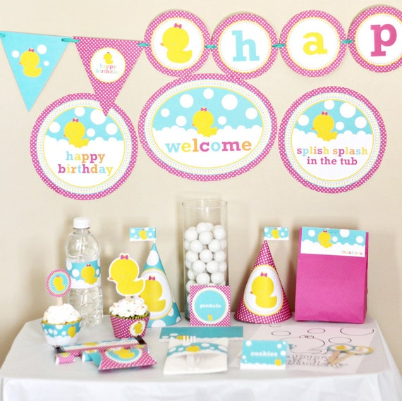 Girl rubber ducky birthday decorations printable rubber duck for Baby shower decoration kits girl