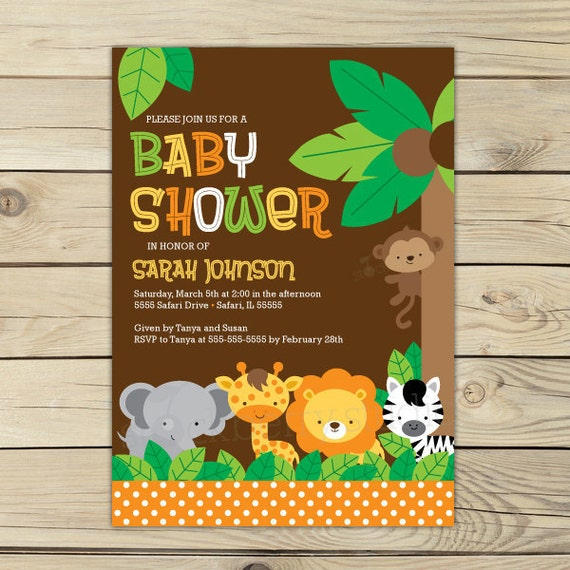 jungle safari baby shower invitation printable safari baby, Baby shower