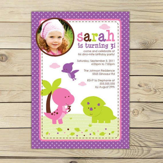 Girl Dinosaur Birthday Invitation Printable Pink Dinosaur Party