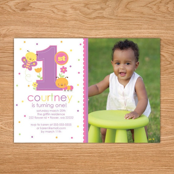 Girl First Birthday Invitation Girl St Birthday Invitation - 1st birthday invitations girl purple