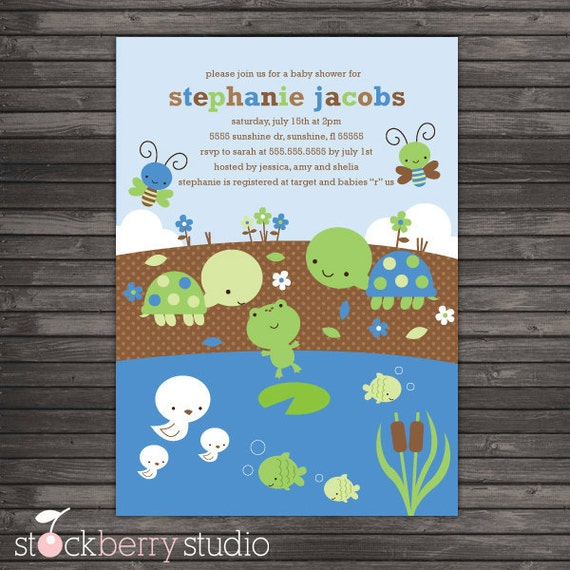 items similar to boy baby shower invitations - turtle baby shower, Baby shower invitations