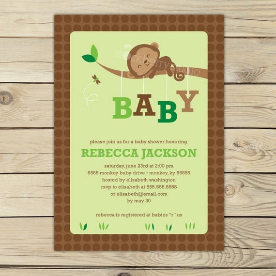 monkey baby shower invites  gangcraft, Baby shower