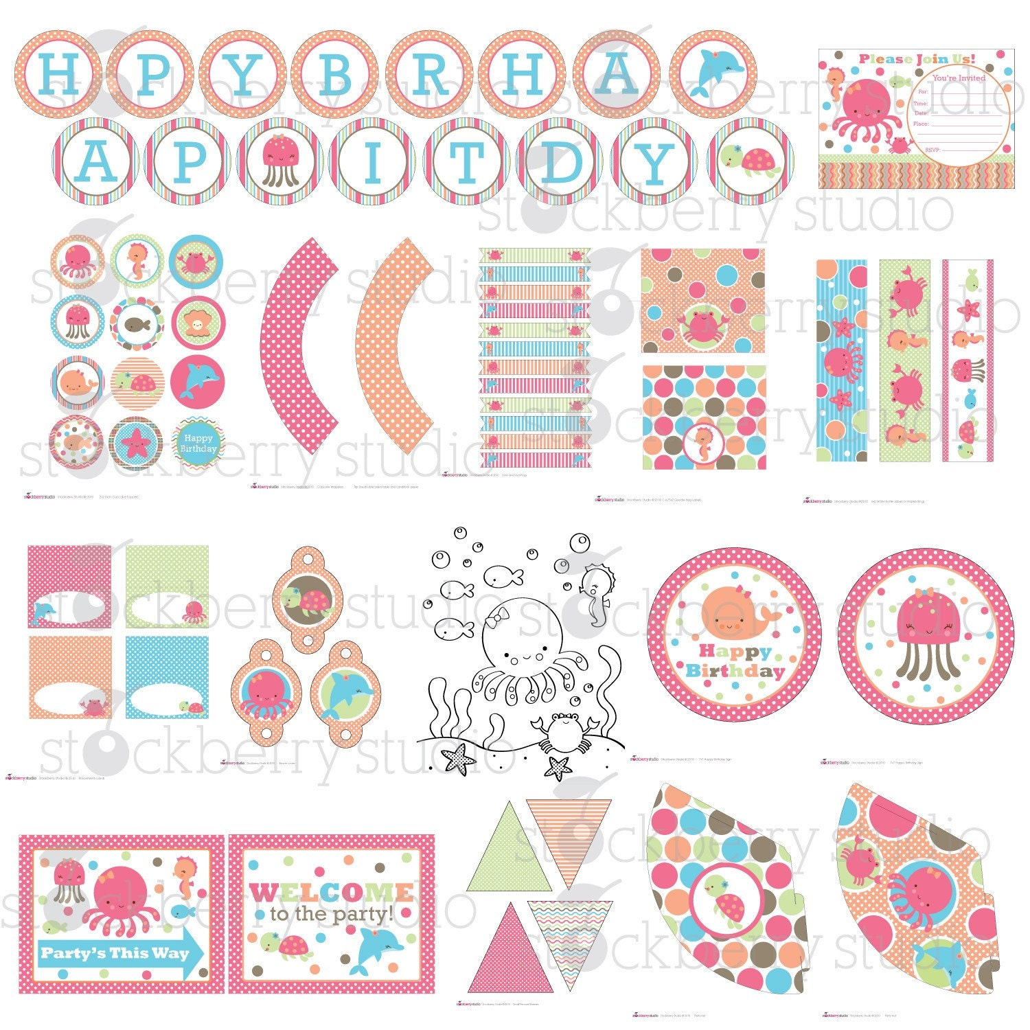 Girl under the sea printable party kit by stockberrystudio for Baby shower decoration kit