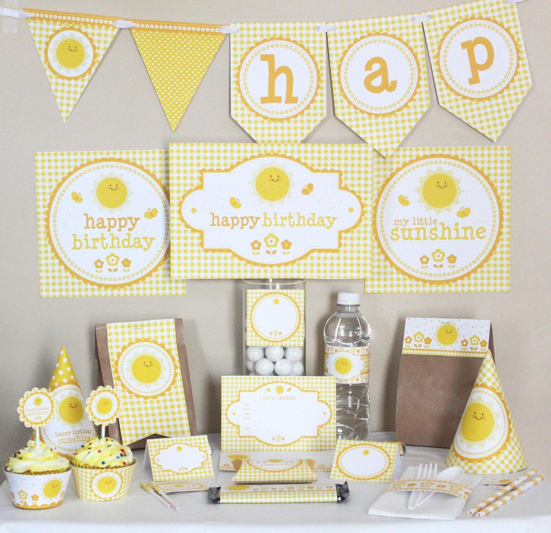 Sunshine Birthday Party Decorations Printable Yellow