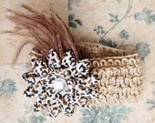 Cheetah Print Feathered Flower Clip - Emily