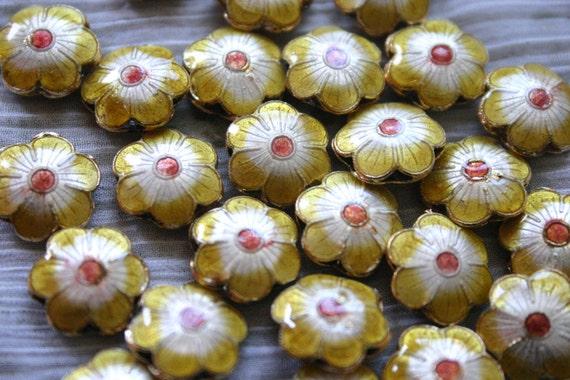 SALE Yellow Sakura - Floral Cloisonne beads (4)