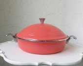 Stunning Enamel Coral Pink Fiesta Accessories Vintage Covered Casserole Dish