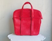 Vintage Bright Red Vinyl Travel Tote Bag Vegan by Samsonite Silhouette Large with Lots of Room