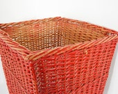 Vintage Cherry Red Large Wicker Basket Tall Hamper Linen Towel Storage Laundry Basket Cottage Chic Rustic Cabin Farm House Chippy Worn