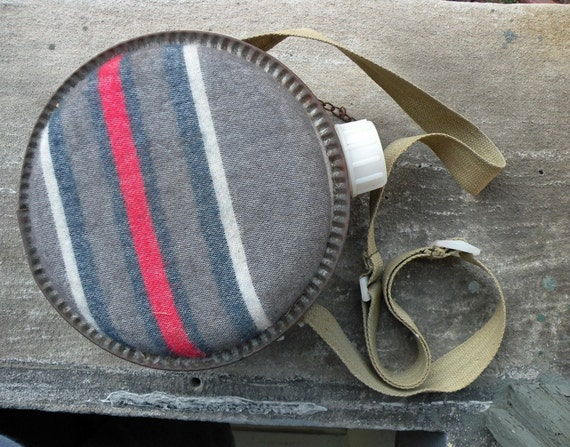 SALE Vintage Striped Camping Canteen Hiking Rustic Travel Scout Grey with Red Blue White Khaki Cotton Strap Autumn Fall