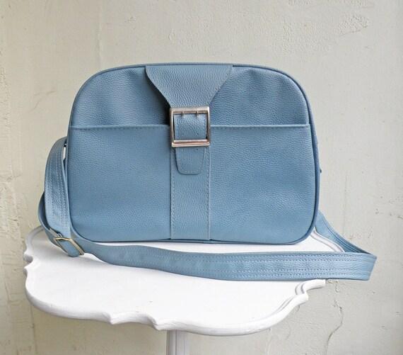Blue Vintage Tote Shoulder Bag Carry On Travel Luggage Vegan Vinyl Messenger Bag Royal Traveler Montbello Samsonite