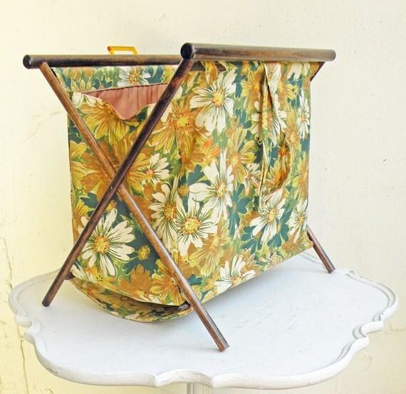 Vintage Folding Knitting Basket : Vintage sewing or knitting basket retro floral fabric with