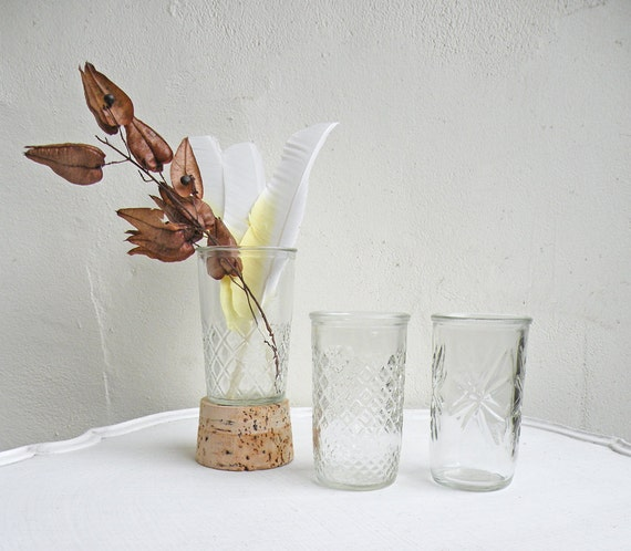 Trio Vintage Faceted Glass Jelly Jar Vases Stars Diamonds Quilted Pressed Glass