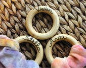 RESERVED Personalized Teething Ring, ORGANIC Wooden Teether for Baby