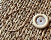 Nursing Necklace, Adjustable LEATHER Cord, Quartz Pendan