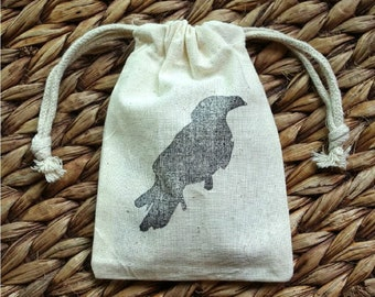 "ADD a Gift Bag, Hand-Stamped Drawstring Muslin Storage Bag 6"" x 4"""