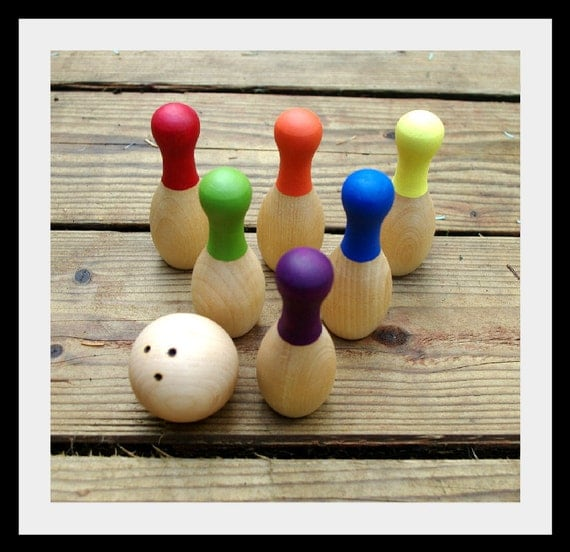 RESERVED Wooden Mini Bowling Game AND Knotty Bambini Personalized