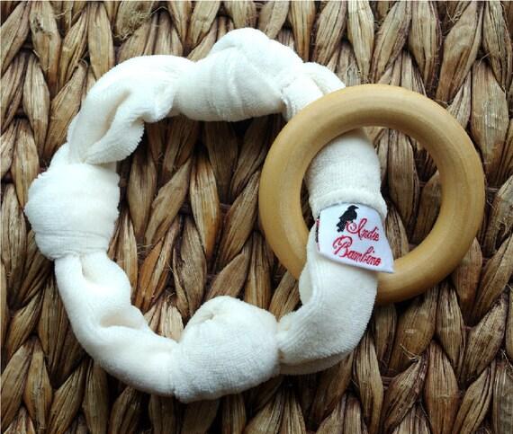 PERSONALIZED Organic Teether, Baby Teething Ring Organic Bamboo Velour