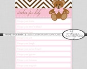 WISHES FOR BABY Digital Printable Baby Shower Game Card