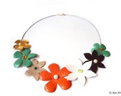 Colorful Leather Flowers Bouquet Necklace Flower Appliques Orange Green Summer Leather Jewelry