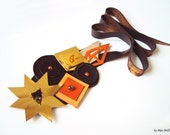 Geometric Leather Necklace Gold Brown Tangerine Squares Long Necklace Leather Jewelry Autumn Necklace