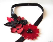 Black and Red Asymmetrical Leather Bib Necklace Floral Statement Leather Jewelry
