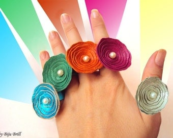 Leather Roses, Pearl Ring, Colorful, Fun, Leather Jewelry, Statement ring, Europe