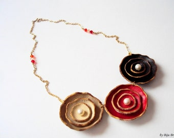 Leather Floral Necklace, Chocolate Cherry Cream Leather Flowers, Leather Jewelry, Layered Flowers, Everyday Necklace