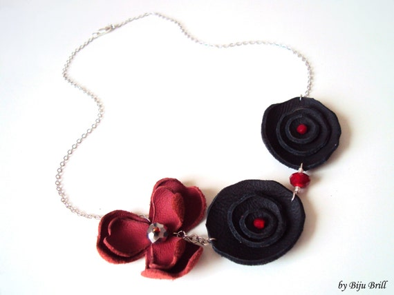 Black and Red Leather Flowers Necklace Rhodium Chain Czech Crystals Modern Leather Jewelry