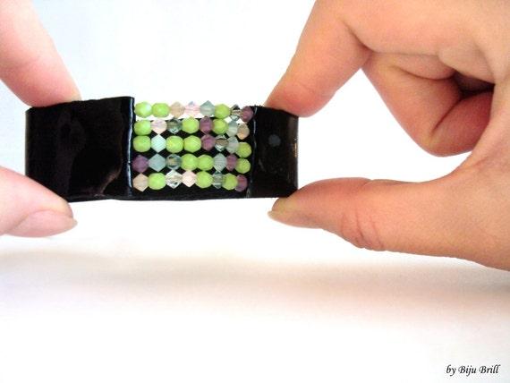 Black Leather Cuff, Beaded Bracelet, Swarovski Leather Bracelet, Modern Wristband, Green Cuff