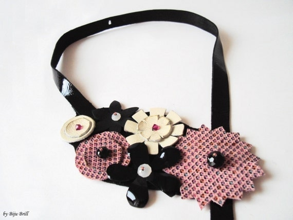 Statement Leather Necklace, Bib Necklace, Pink Flowers, Polka Dots, Black Leather Jewelry, Leather Headpiece