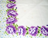 Vintage Cotton White and Lavender Floral Hanky