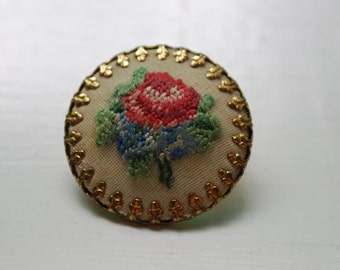 Vintage Embroidered Floral Pin