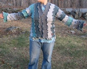 storm clouds kimono sweater, upcycled clothing, cardigan, recycled, gypsy, hippie, natural, vegan, large, grey and teal