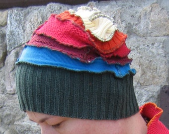 rainbow goblin hat, recycled, vegan, free shipping
