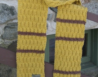 ginger and cumin scarf, hand knit, cotton, vegan, mustard and brown