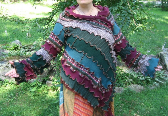 elven cranberry hollow kimono wrap sweater, vegan, recycled, upcycled clothing, gypsy, cranberry green teal brown