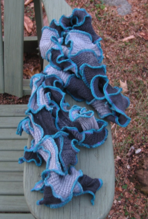 frost on the window scarf, recycled sweaters, upcycled clothing, patchwork, gypsy, hippie, vegan, shades of grey, teal, purple, super long