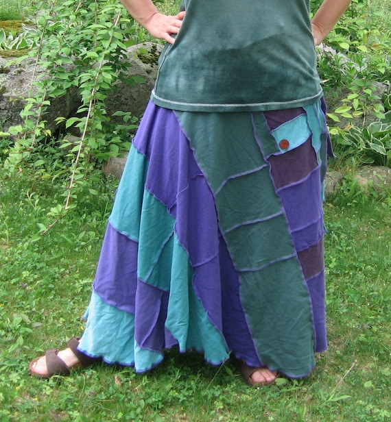 moss on the stones wrap skirt, recycled tshirts, upcycled, gypsy, hippie, vegan, purple, green, teal, turquoise
