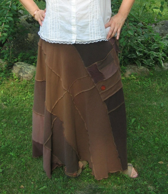 hugging trees wrap skirt, recycled tshirt skirt, upcycled clothing, gypsy, hippie, earth mother, cotton, vegan, shades of brown