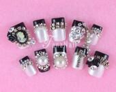 French Nails, Japanese Nail Art, 3D Nails, Press On Nails, False Nails, Black & White Nails, Rose, Pearl, Princess, Hime Gyaru, (T073K)
