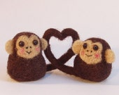 love monkeys, pair of needlefelt