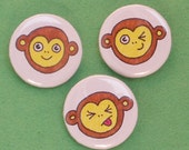 monkey face pin back buttons