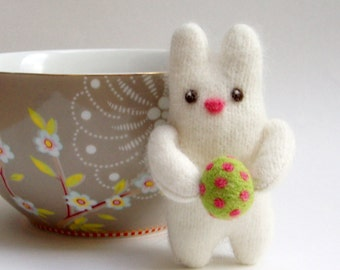 Easter bunny wool plush, green and pink easter egg