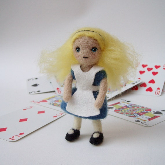 Alice in Wonderland doll, needle felted art doll