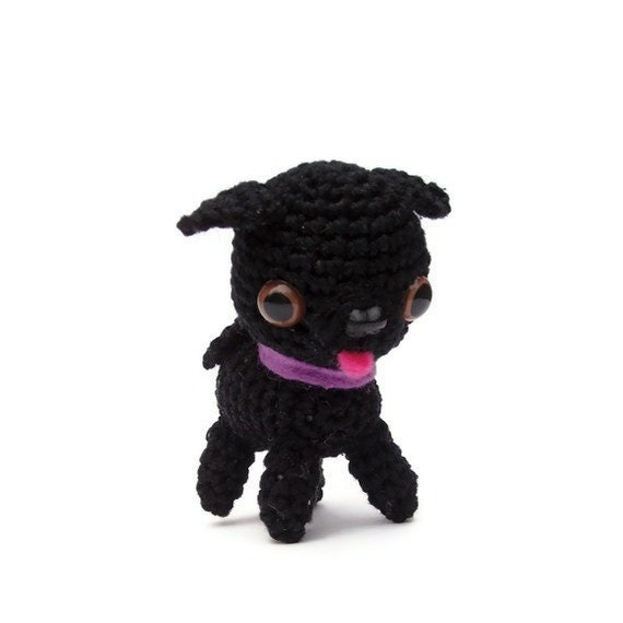 black pug amigurumi, tiny crochet black pug