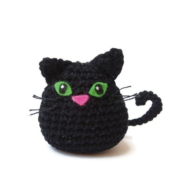 cat crochet cat amigurumi cat black cat by Lybo on Etsy